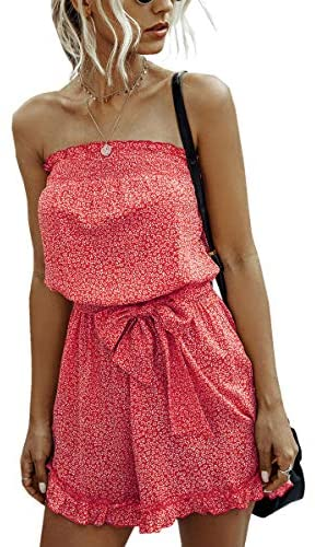Angashion Women's Rompers-Casual Summer Off Shoulder Strapless Floral Print Ruffle Belt Shorts Jumpsuit