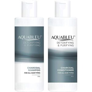 Aquableu Activated Charcoal Shampoo & Conditioner Set – Detoxifying, Deep Cleansing, Clarifying & Volumizing - Sulfate & Paraben Free - Cruelty Free - For color treated hair - For Men & Women. (8 oz)
