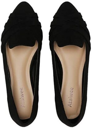 Ataiwee Women's Wide Width Flat Shoes - Pointy Toe Slip On Cozy Classic Suede Cute Ballet Flats.