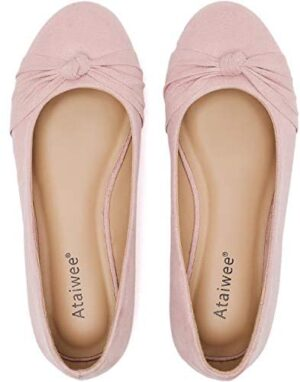 Ataiwee Women's Wide Width Flat Shoes - Round Toe Suede Classic Cozy Cute Slip-on Ballet Flats.