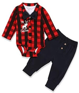 Baby Boys My 1st Christmas Outfits Baby Kids Gentleman Christmas Romper Bodysuit + Pants 3Pcs Clothes Sets