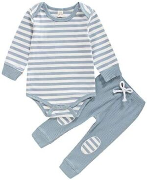 Baby Newborn Girls Boys Long Sleeve Clothes Striped Romper & Pants Set Infant Fall Winter Cotton Outfits