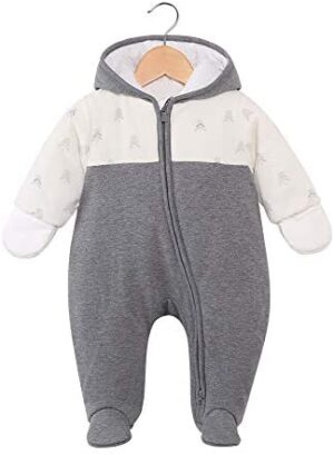 Baby Winter Clothes Snowsuit Rompers Jumpsuit Zipper Hooded Footed Onesie Outwear Outfits Set Coat for Infant Boy Girl
