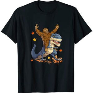 Bigfoot Sasquatch Riding Dinosaur T rex T shirt Funny Gifts T-Shirt