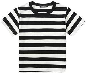Boys Black and White Striped T-Shirt, Pugsley Costume Top Shirts 3T-10
