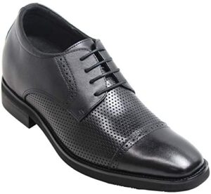 CALTO Men's Invisible Height Increasing Elevator Shoes - Black Premium Leather Lightweight Perforated Lace-up Formal Oxfords - 3 Inches Taller - T9331
