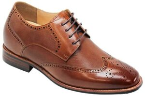 CALTO Men's Invisible Height Increasing Elevator Shoes - Brown Premium Leather Wing-tip Lace-up Formal Oxfords - 3 Inches Taller - Y10652