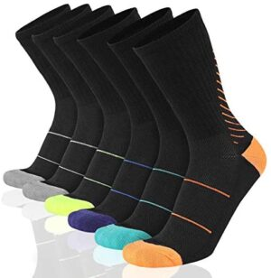 COOVAN Men's 6P-Pack Premium Athletic Crew Socks Men Thick Cushion Casual Work Sock With Moisture Wicking