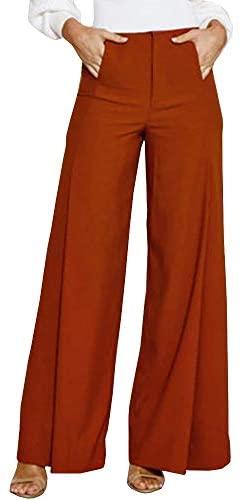 Caitefaso Womens High Waisted Long Palazzo Pants Wide Leg Flowing Trousers Suit Pants with Pockets