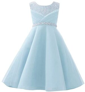 Castle Fairy Girls' First Communion Organza Sequin Pearls Flower Girl Dress with Train