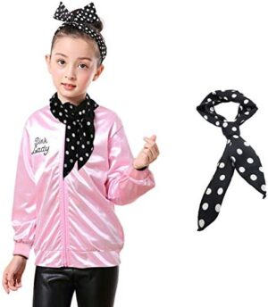 Child Pink Jacket with Neck Scarf Costume Fancy Dress