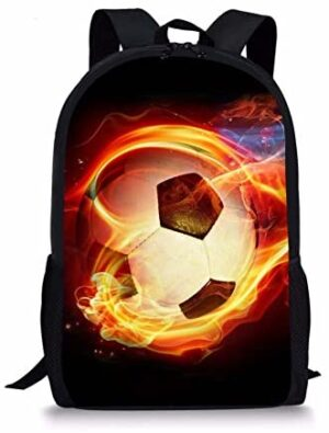 Children School Backpack for Girls Boys Cool Soccer Print Kids Bookbag Travel Daypack