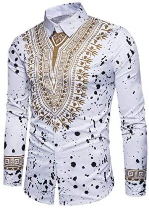 Cloudstyle Mens Dashiki Button Down Slim Fit African Ethnic Printed Long Sleeve Dress Shirt