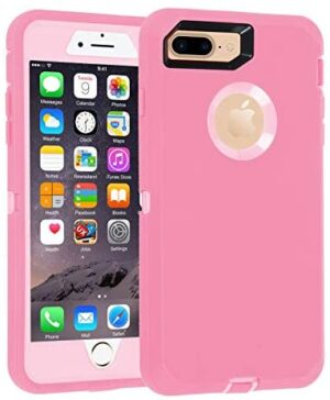 Co-Goldguard Case for iPhone 7 Plus/8 Plus Heavy Duty 3 in 1 Built-in Screen Protector Durable Cover Dust-Proof Shockproof Scratch-Resistant Shell Compatible with iPhone 7+/8+ 5.5,Rose Gold