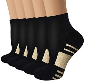 Copper Compression Running Socks for Men & Women-5 Pairs-Fit for Athletic,Travel& Medical