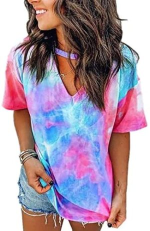 DOSWODE Womens Tie Dye Shirt Short Sleeve Blouses Printed V Neck Tops for Women