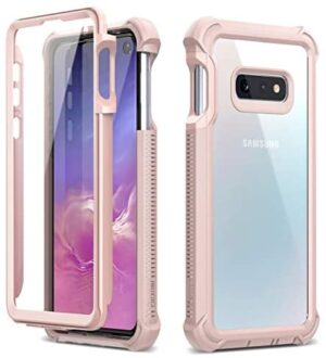Dexnor Compatible Samsung Galaxy S10E Case with Screen Protector with Front Frame Clear Rugged Full Body Protective Shockproof Hard Defender Bumper Cover for Women/Girls - Pink