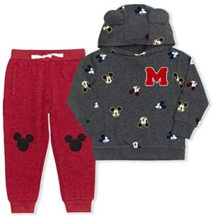 Disney Boy's 2-Piece Mickey Mouse M Pullover Hoodie and Drawstring Jogger Pant Set