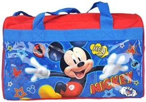 Disney Mickey Mouse Duffel Travel Bag Classic Print Red Blue