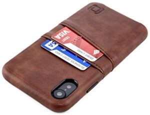"""Dockem iPhone XR Wallet Case: Built-in Metal Plate for Magnetic Mounting & 2 Credit Card Holders (6.1"""" Exec M2, Synthetic Leather, Brown)"""