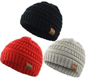 Durio Soft Warm Knitted Baby Hats Caps Cute Cozy Chunky Winter Infant Toddler Baby Beanies for Boys Girls