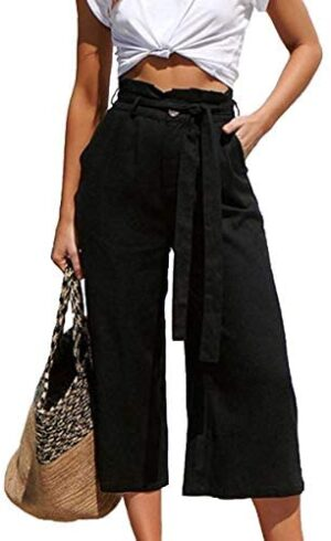 ECOWISH Womens Cotton Soft Palazzo Wide Leg Pant with Pockets High Waist Casual Loose Flowy Pants with Belt
