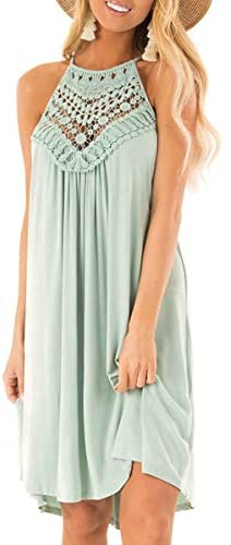 ECOWISH Womens Halter Neck Lace Patchwork Backless Loose Tunic Tank Dress Sleeveless Casual Top Dresses