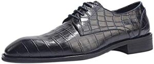 ELANROMAN Men's Oxfords Leather Dress Lace-up Party Wedding Formal Shoes