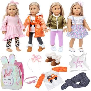 Ecore Fun 4 Sets 18 Inch Doll Clothes and Shoe and Cute Bag for Kids Casual Wear Oufits for American 18 Inch Girl Doll Clothes with Hair Band Birthday Gift for Kids