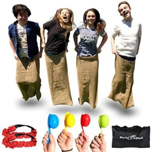 Elite Outdoor Games for Family - Backyard Games or Birthday Party Games for Kids - 4 Potato Sack Race Bags for Kids, 3 Legged Race Bands and Finish Your Field Day Games with an Egg and Spoon Race