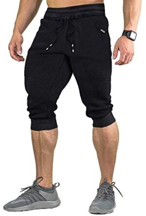 FASKUNOIE Men's Cotton Casual Shorts 3/4 Jogger Capri Pants Breathable Below Knee Home Lounge Short Pants with Three Pockets