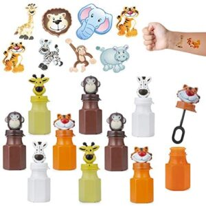 FAVONIR Animal Bubbles & Tattoos Party Set – 24 x Kids Bubble Bottles 144 Temporary Tattoo Stickers for Kids – Jungle Themed Party Favors for Birthday, Classroom Parties & Holiday Goodie Bag fillers