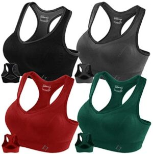 FITTIN Racerback Sports Bras for Women- Padded Seamless High Impact Support for Yoga Gym Workout Fitness