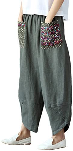FTCayanz Women's Linen Wide Leg Pants Baggy Tapered Cropped Pants Elastic Waist Trousers