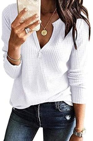 Famulily Womens Long Sleeve Tshirt V Neck Loose Fit Soft Waffle Knit Thermal Tops