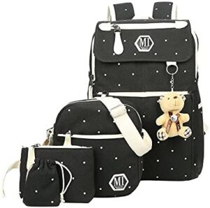 Fanci 4Pcs Polka Dot Women Canvas Daypack Casual School Bag for Girls Middle High School Backpack Set with Lunch Bag