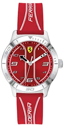 Ferrari Boys' Academy Stainless Steel Quartz Watch with Silicone Strap, Red, 16 (Model: 0810023)