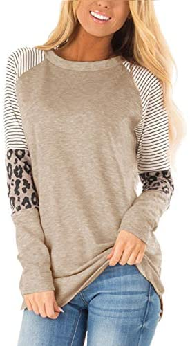 Floral Find Women's Long Sleeve Leopard Color Block Tunic Comfy Stripe Round Neck T Shirt Tops