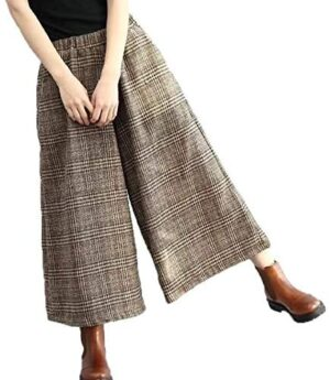 Flygo Womens Casual Loose Wool Blend Plaid Cropped Wide Leg Pants Trousers
