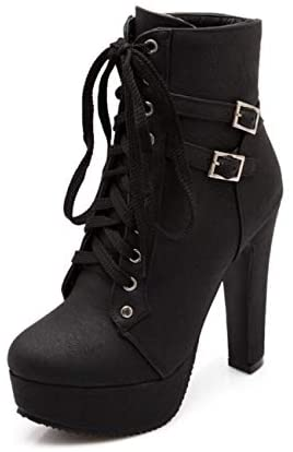 ForeMode Women Autumn Round Toe Lace up Ankle Buckle Chunky High Heel Platform Knight Martin Boots