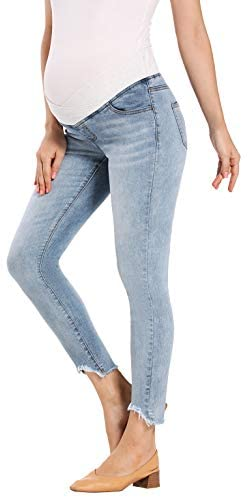 Foucome Women's Maternity Jeans Underbelly Skinny Jeggings Cute Distressed Jeans Comfy Stretch Pants