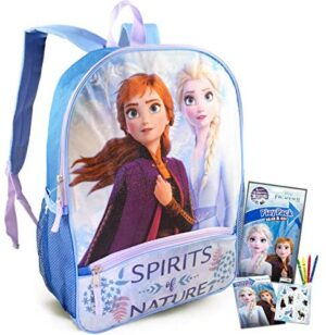 """Frozen Backpack Travel Bag for Girls Toddlers Kids Bundle ~ Premium 16"""" Frozen School Bag Travel Set with Frozen Coloring Pack and Stickers (Frozen School Supplies for Girls Boys)"""