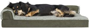 Furhaven Pet - Plush Orthopedic Sofa, L-Shaped Chaise Couch, Ergonomic Contour Mattress, & Long Faux Fur Calming Donut Dog Bed for Dogs & Cats - Multiple Styles, Sizes, & Colors