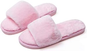 Fuzzy Fluffy Slides Furry Fur House Slippers for Women Slip On Memory Foam Sandals Slippers Open Toe Slippers Women Flat Spa Slides Slippers House Shoes with Anti-Skid Rubber Sole