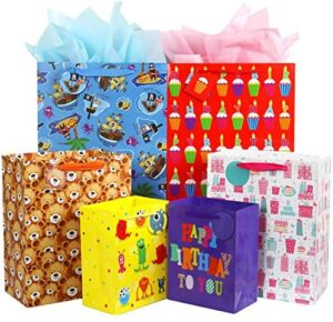 Fzopo Kids Birthday Gift Bag Assortment, Heavy Duty Paper Gift Bags, Red, Blue, Purple, Yellow, Brown, Pack of 12 Small, Medium, Extra Large Bags for Birthdays, Kid Party, Childrens Day