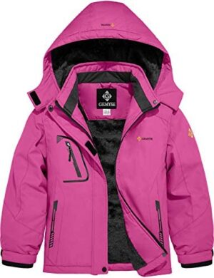 GEMYSE Girl's Waterproof Ski Snow Jacket Fleece Windproof Winter Jacket with Hood
