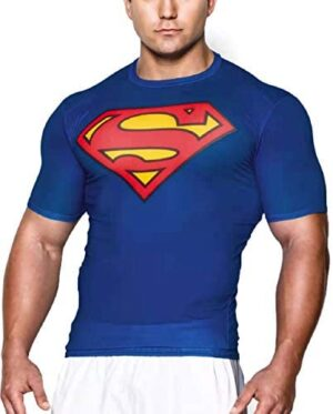 GYM GALA Men's Short Sleeve Super Hero Casual and Sports t Shirt Compression Shirt