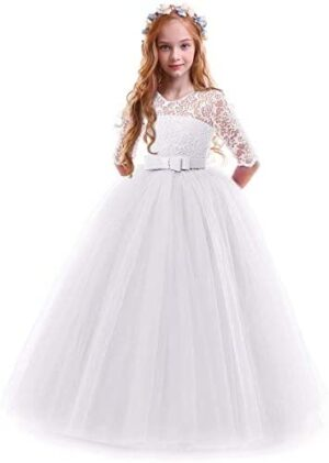Girls Flower Vintage Floral Lace 3/4 Sleeves Floor Length Dress Wedding Party Evening Formal Pegeant Dance Gown