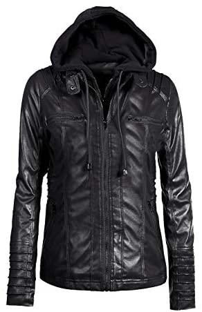 Girl's Removable Hooded Faux Leather Moto Biker Jacket for Kids