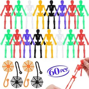 Halloween Stretchy Skeletons Party Favors - 60 Pcs Assorted Stretchy Toys, 48 Bendable Skeleton Toys + 12 Sticky Spider Webs, Halloween Party Favors for kids Halloween Goodie Bag Fillers Game Prizes